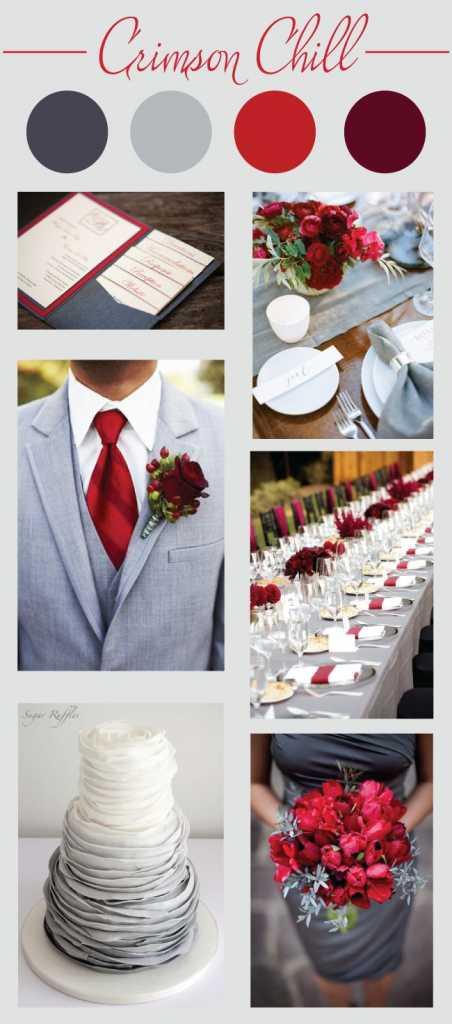 ธีมงานแต่งงาน โทนสีน้ำเงิน เทา แดงและเลือดหมู