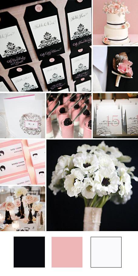 ธีมงานแต่ง สีดำ สีชมพูและสีขาว