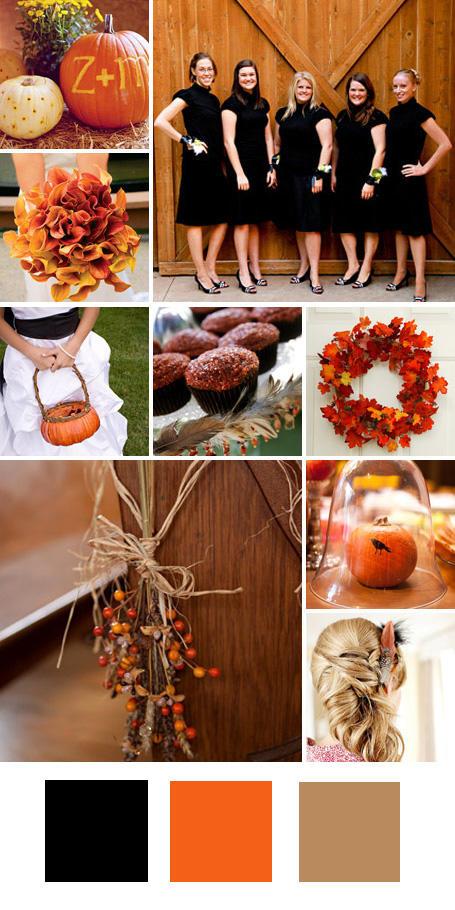 ธีมงานแต่ง สีดำ สีส้มและสีน้ำตาล