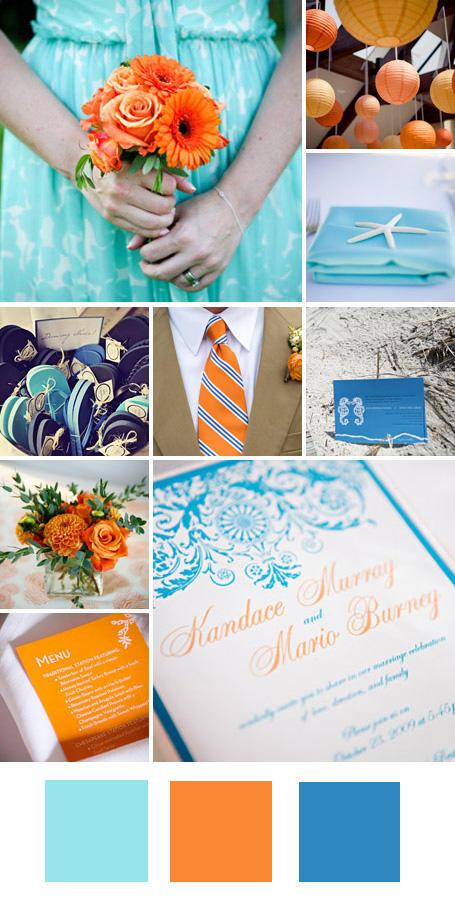 ธีมงานแต่ง สีฟ้าคราม สีเหลืองส้มและสีฟ้าเข้ม
