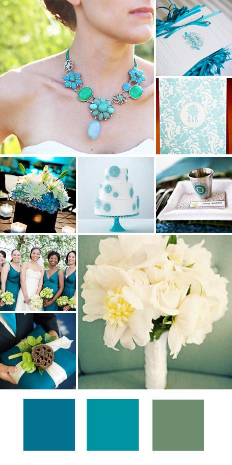 ธีมงานแต่ง สีฟ้าเข้ม สีฟ้าครามและสีเขียวมิ้นท์