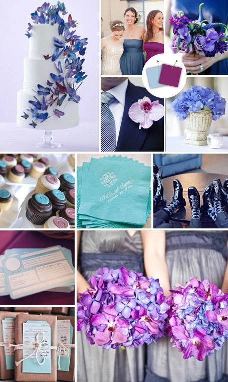 ธีมงานแต่ง สีฟ้าและสีม่วงเข้ม