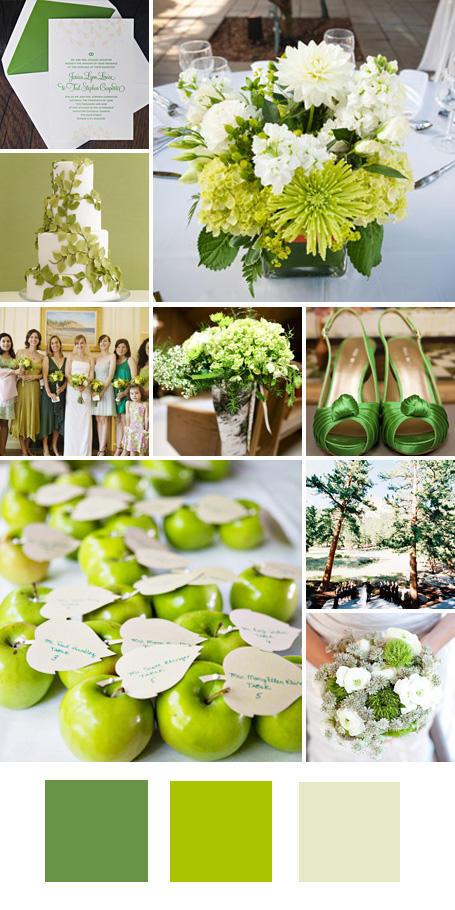 ธีมงานแต่ง สีเขียว สีเขียวมะนาวและสีเขียวครีม
