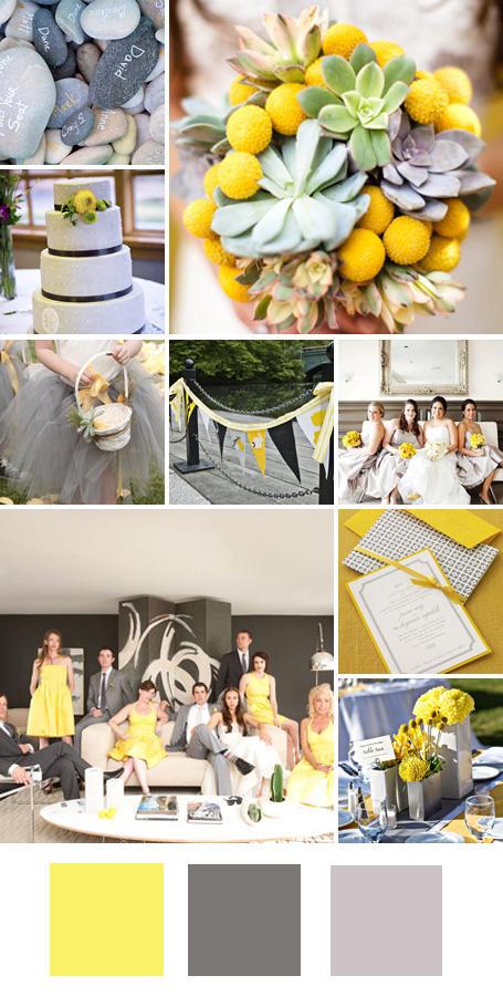 ธีมงานแต่ง สีเหลือง สีเทาและสีเงิน