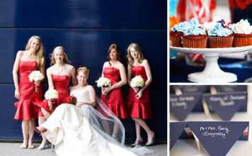ธีมงานแต่ง สีแดง สีน้ำเงินและสีขาว